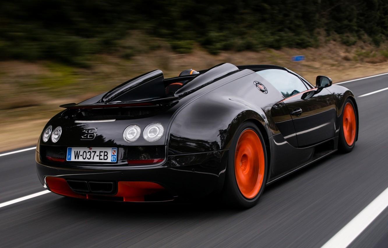 Photo wallpaper car, Roadster, Bugatti, Veyron, supercar, black, road, speed, orange, Grand Sport, Vitesse, WRC Edition