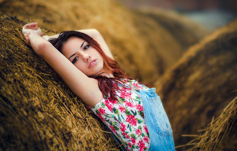 Photo wallpaper girl, sweetheart, hay, girl, brown hair, beautiful, jumpsuit, model, Delaiah Gonzalez