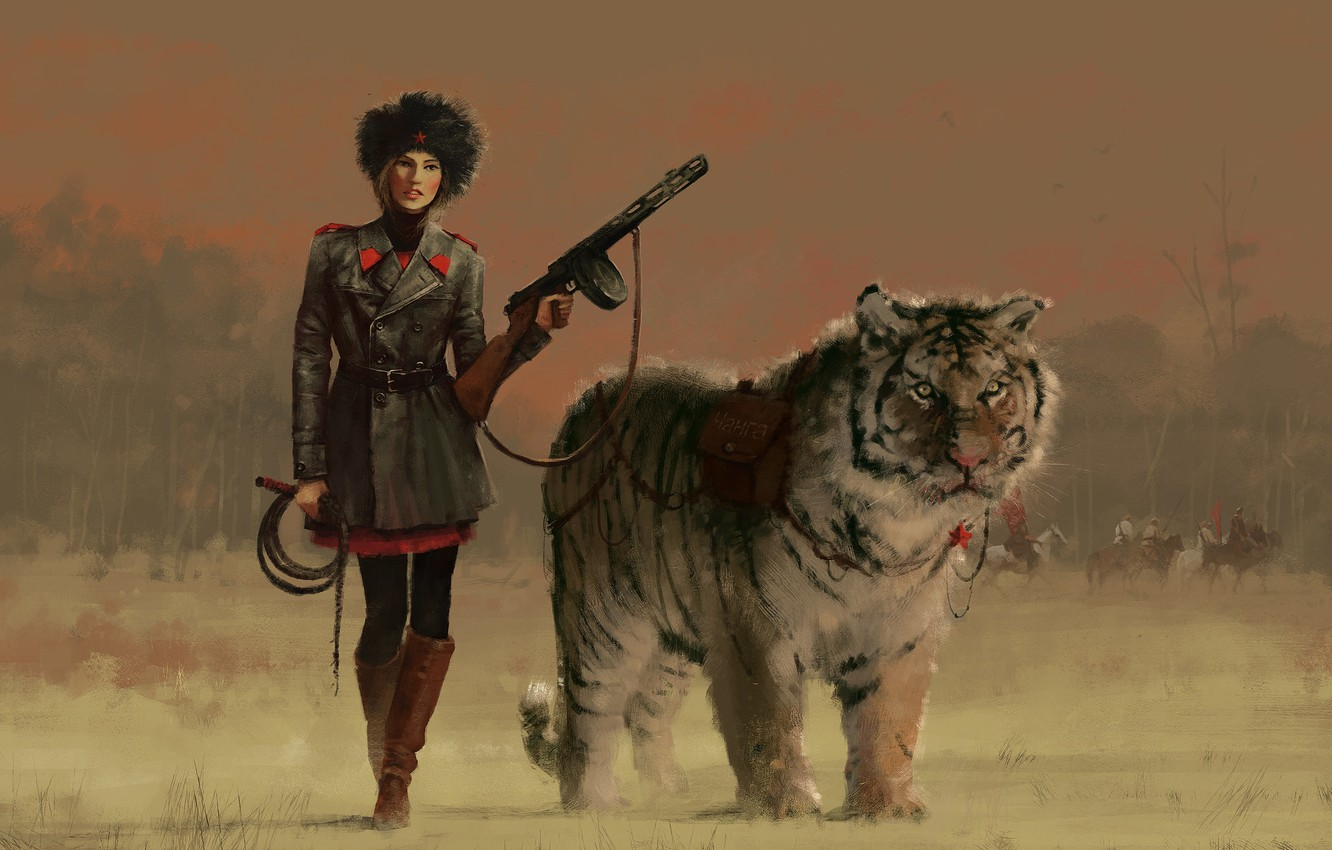 Photo wallpaper girl, tiger, weapons, animal, art, form, painting