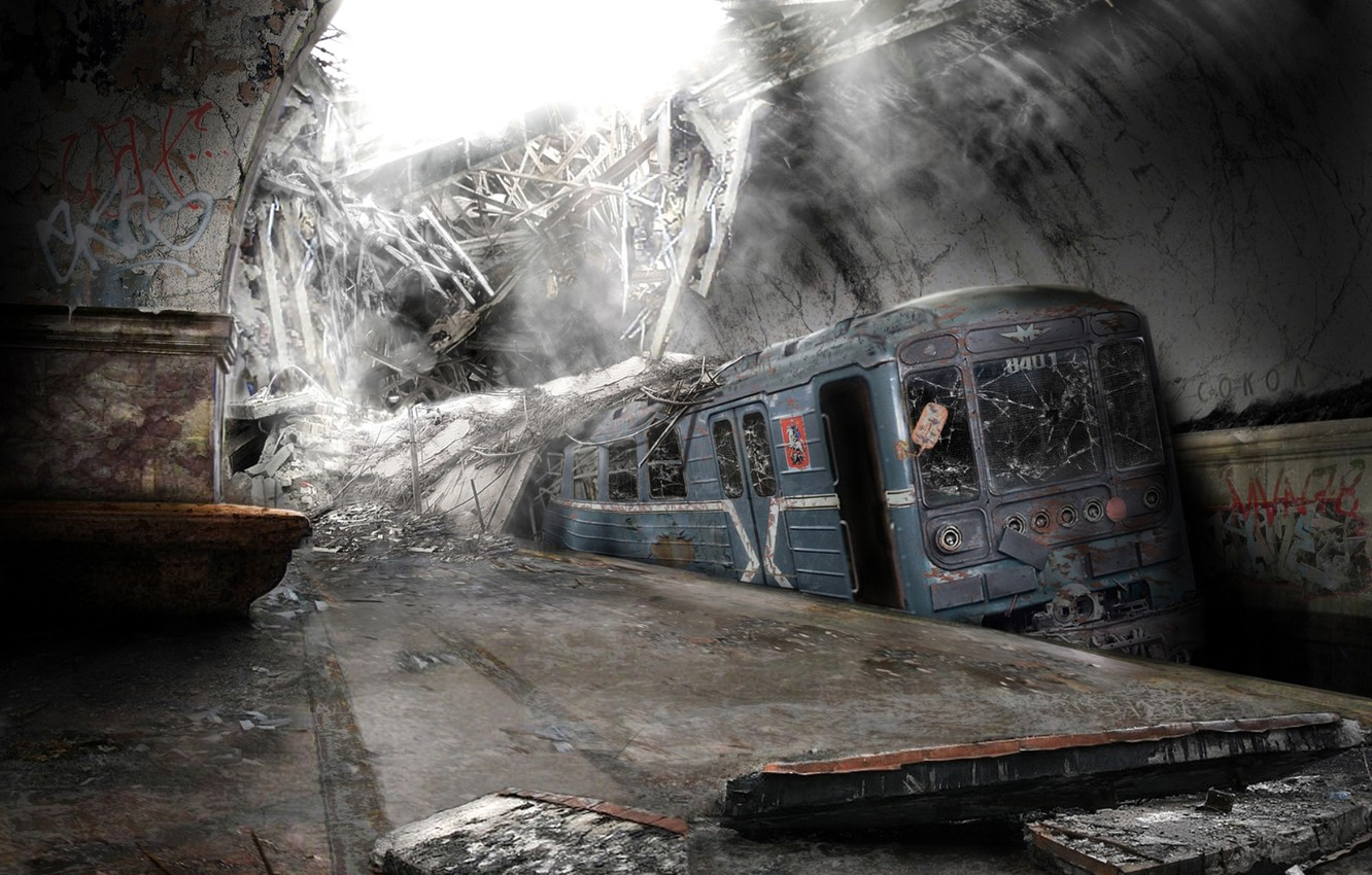 Photo wallpaper the city, Metro, subway, an abandoned place