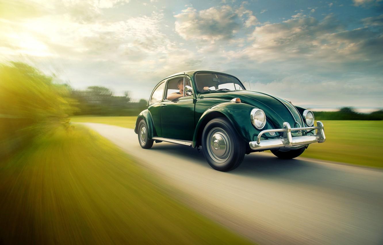 Photo wallpaper road, field, the sky, the sun, clouds, lights, Volkswagen, wheel, Beetle