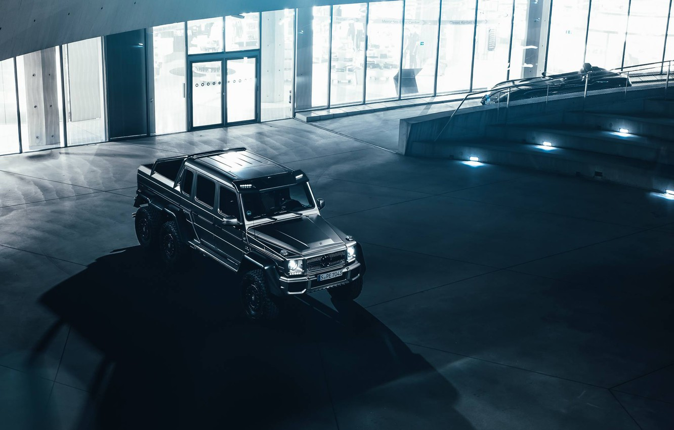 Photo wallpaper Mercedes-Benz, AMG, View, SUV, G63, Silver, Top, Ligth, Nigth, 6X6