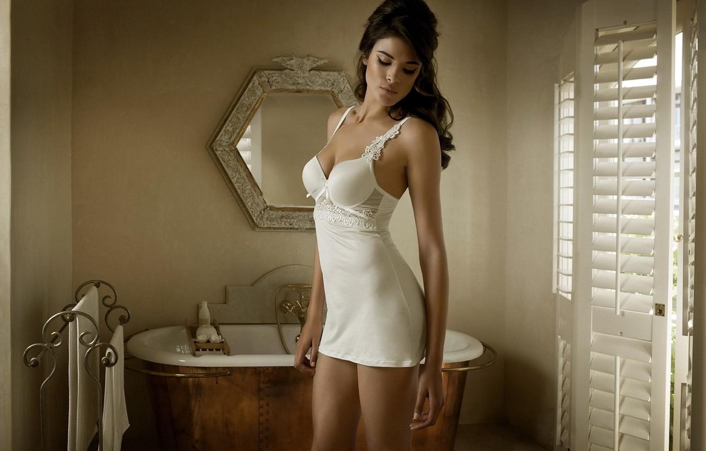 Photo wallpaper model, mirror, bath, Jenna Pietersen, beautiful girl