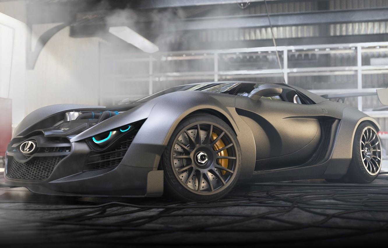 Photo wallpaper Concept, Car, Power, Lada, Front, Future, Garage, Track, Next, 3D Graphics