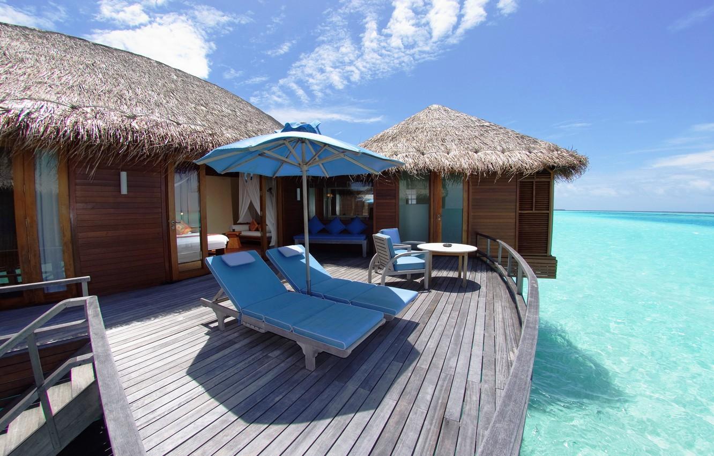 Photo wallpaper summer, the sky, landscape, nature, house, the ocean, stay, Wallpaper, wallpaper, the Maldives, sunbeds, the …