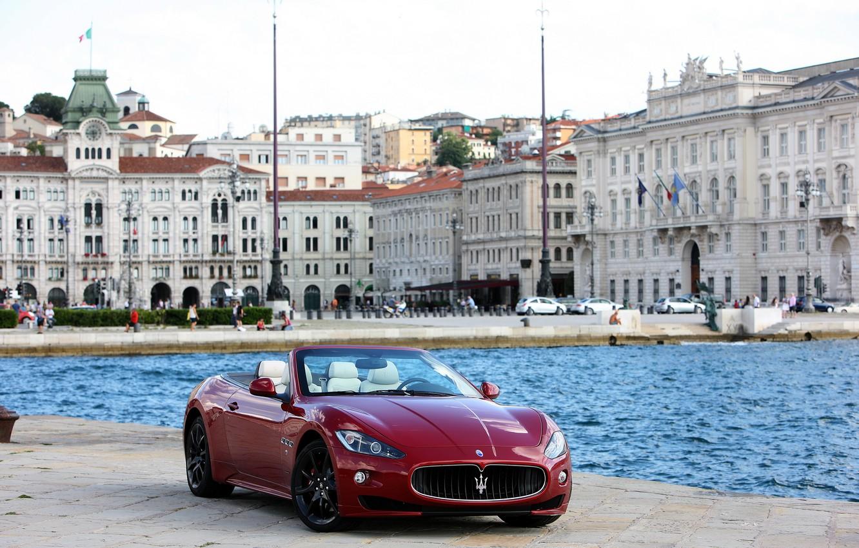 Photo wallpaper the city, photo, Maserati, cherry, convertible, car, front, 2011, The GranCabrio Sport