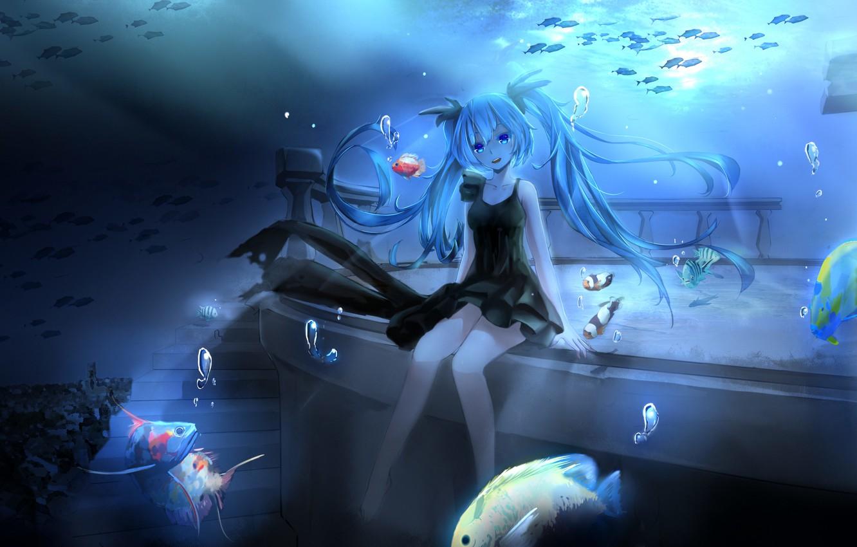 Photo wallpaper girl, fish, bubbles, anime, art, ladder, vocaloid, hatsune miku, under water, magicians