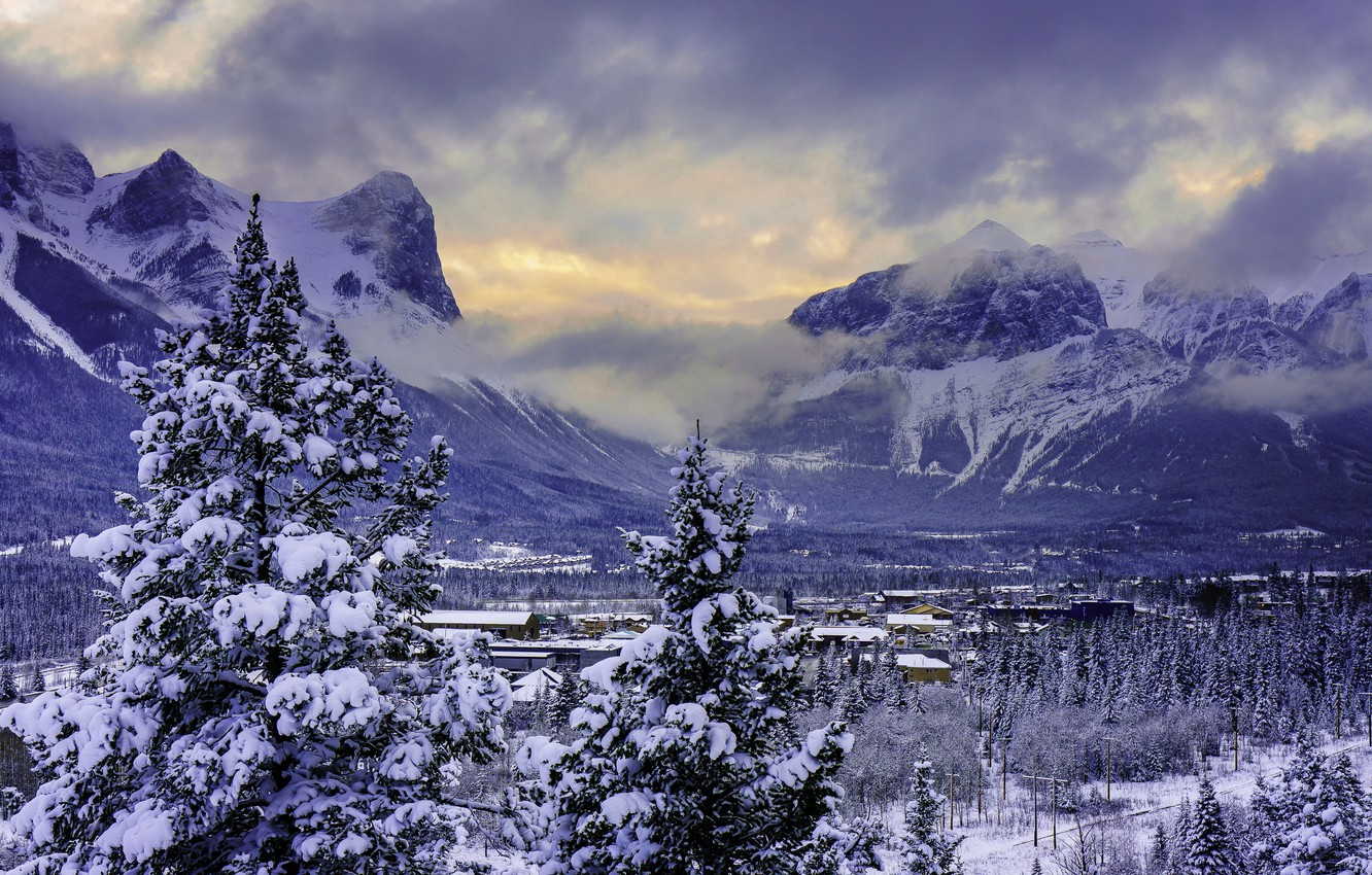 Photo wallpaper winter, snow, mountains, valley, Canada, Banff National Park, Alberta, Canmore