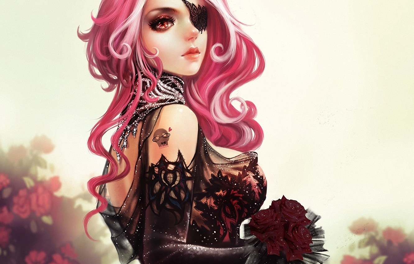 Photo wallpaper girl, flowers, roses, bouquet, art, headband, pink hair
