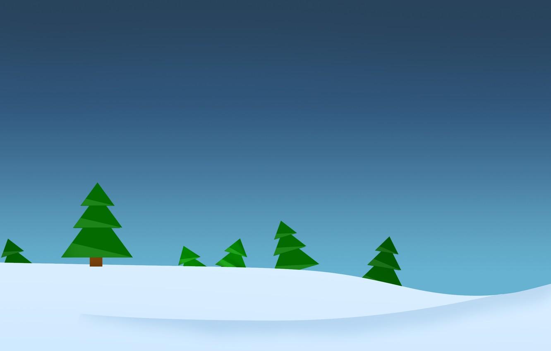 Photo wallpaper winter, forest, minimalism, vector, Tree