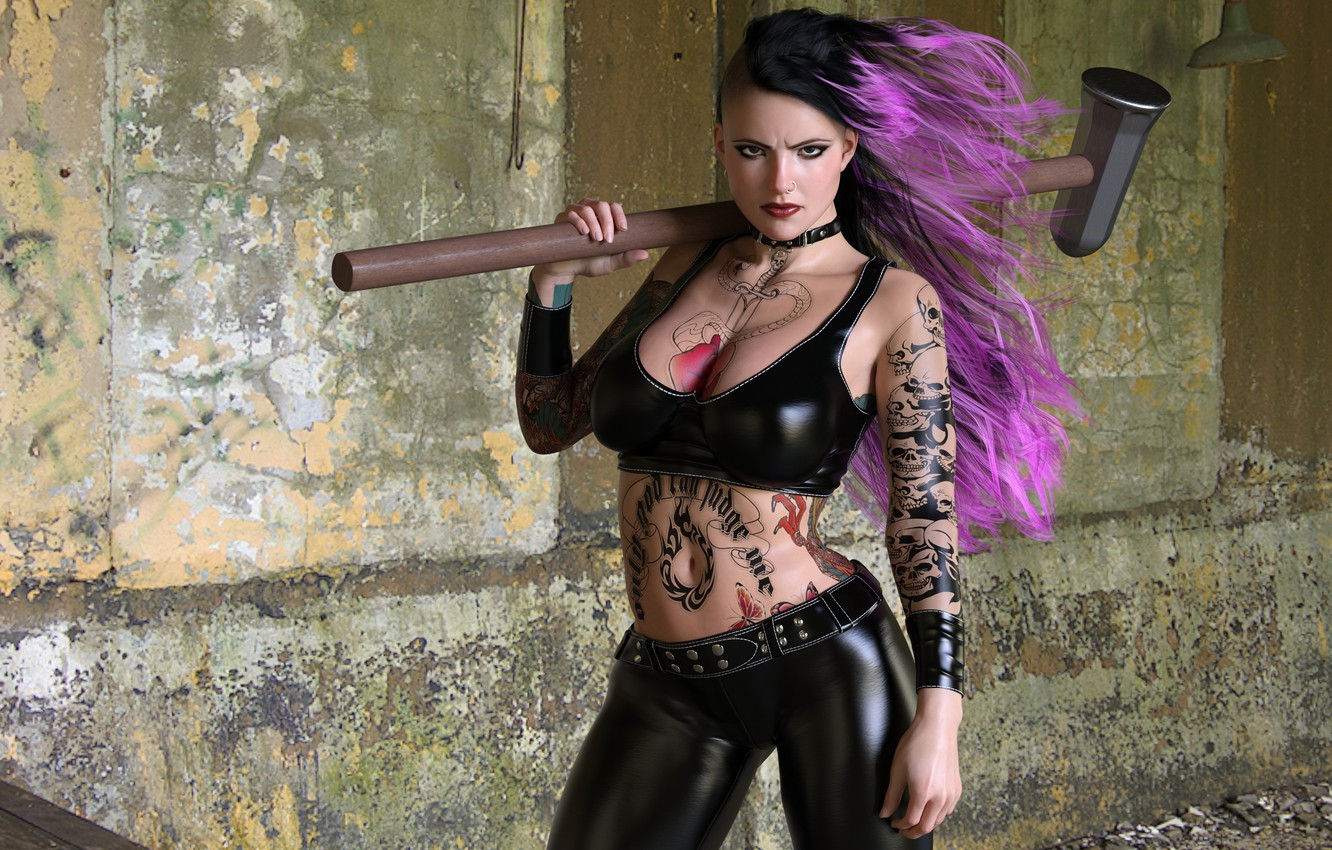 Photo wallpaper chest, look, girl, wall, punk, tattoo, hairstyle, sledgehammer