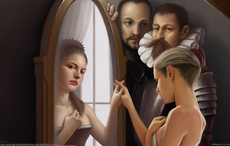 Photo wallpaper reflection, girls, magic, mirror, men, Corrado Vanelli