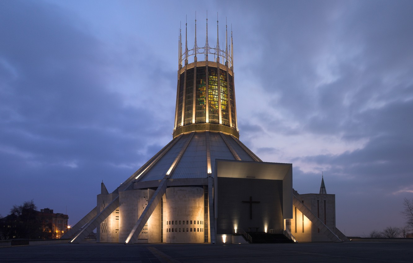 Wallpaper The City Lights Lights England The Evening Uk Architecture Evening Liverpool Liverpool England Architecture Great Britain United Kingdom United Kingdom Metropolitan Cathedral Of Christ The King Images For Desktop Section Gorod