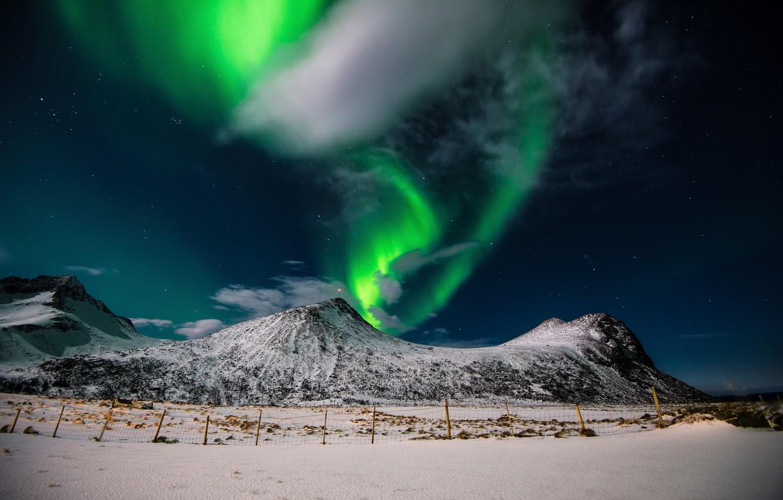 Photo wallpaper night, stars, Northern lights