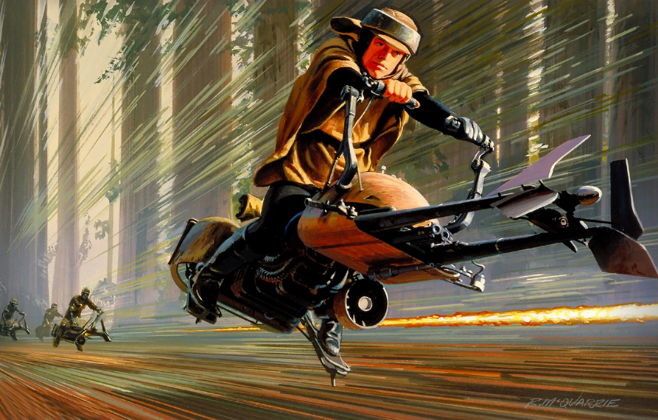 Photo wallpaper Figure, Star Wars, Art, Star Wars, Movie, Speeder Bike
