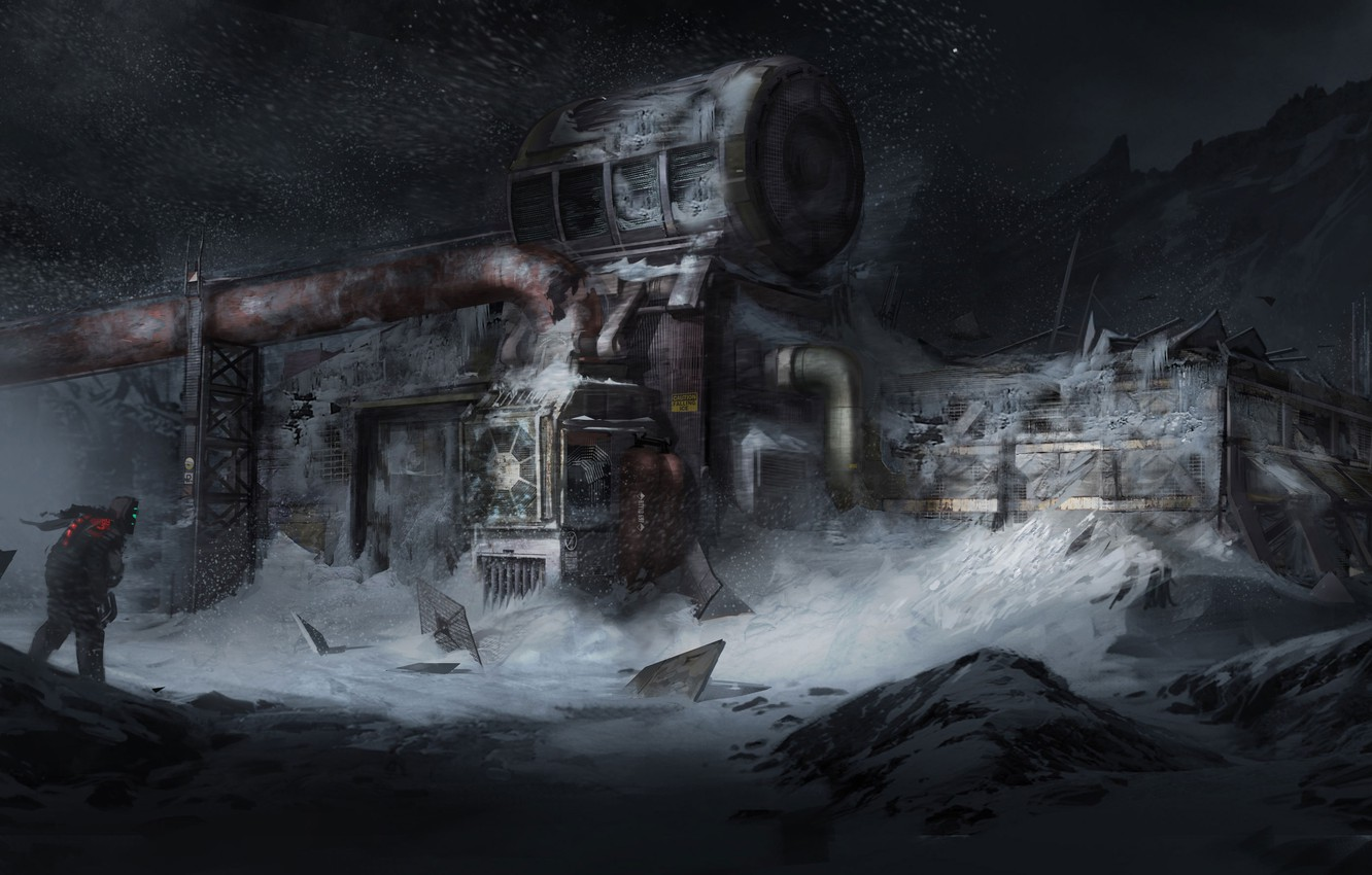 Photo wallpaper The sky, Stars, Snow, Mountain, Posts, The building, Weapons, Armor, Art, Isaac Clarke, Electronic Arts, …