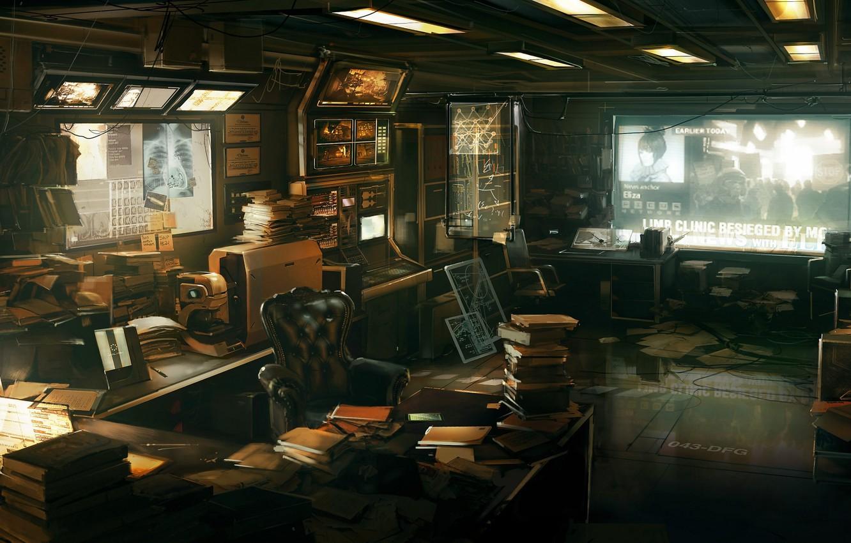 Photo wallpaper science, books, office, Deus Ex: Human Revolution