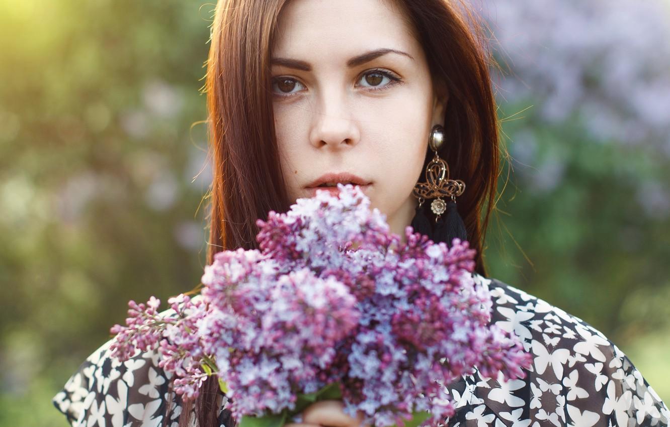 Photo wallpaper girl, sunset, flowers, spring, beautiful, woman, lilac, pretty, spring