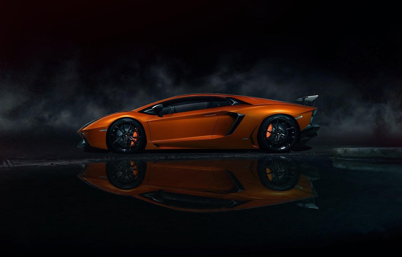 Photo wallpaper Lamborghini, Orange, Side, LP700-4, Aventador, Supercars, Carporn