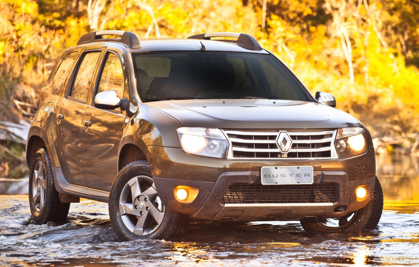 Photo wallpaper forest, water, stream, the front, renault, Reno, crossover, duster, Ford, duster