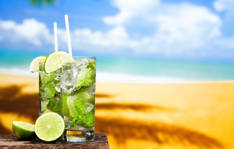Photo wallpaper sea, beach, cocktail, lime, beach, fresh, sun, sand, drink, mojito, cocktail, lime, Mojito, tropical