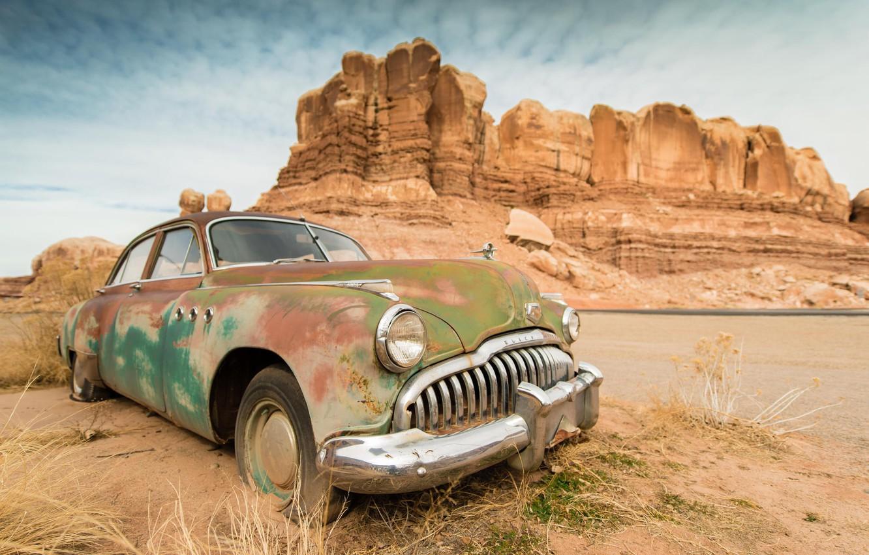 Photo wallpaper machine, auto, mountains, retro, desert, canyon