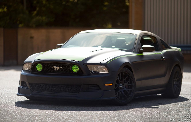 Photo wallpaper Mustang, Ford, Black, RTR, Matte