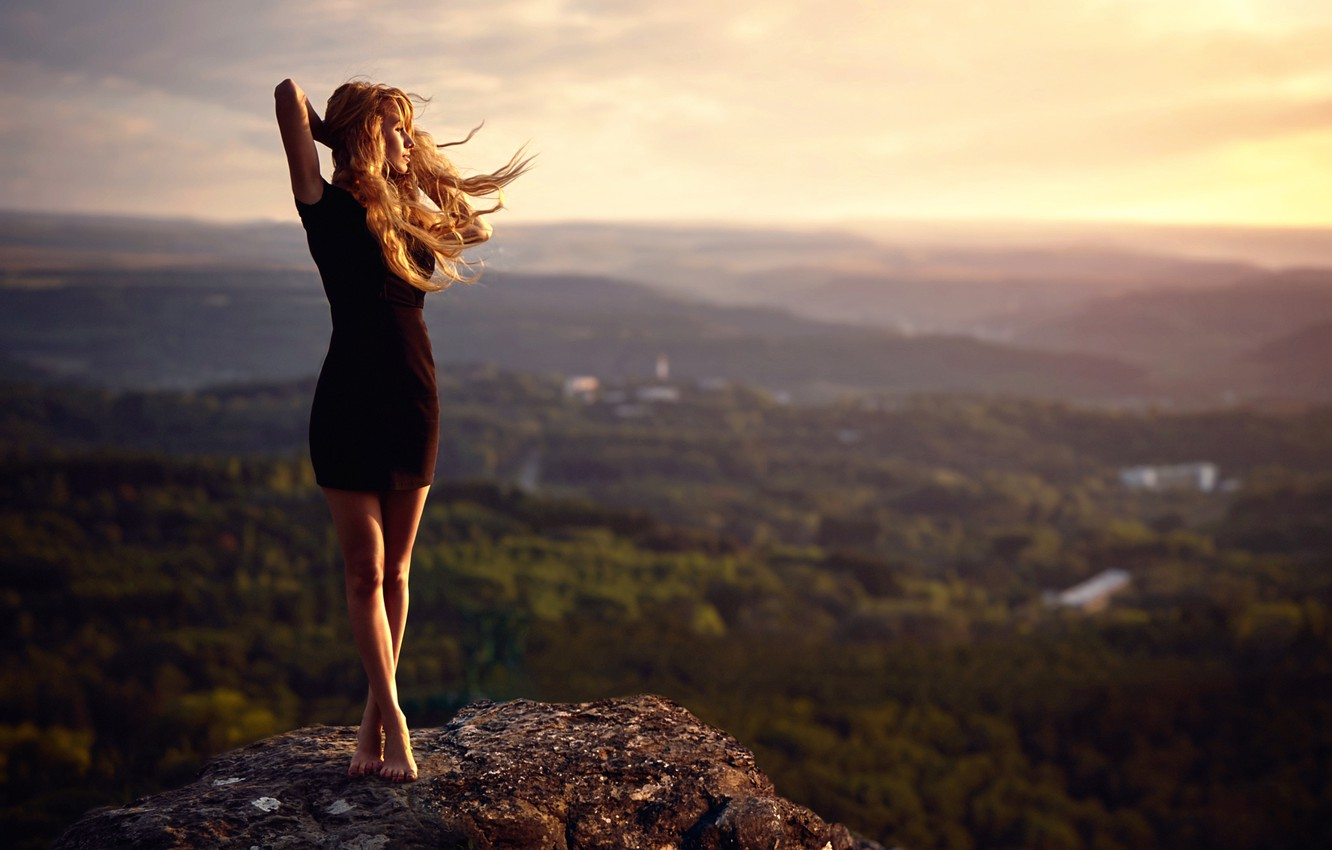 Photo wallpaper girl, the wind, stone, view, height, dress, legs