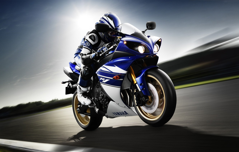 Photo wallpaper speed, motorcyclist, Yamaha, front, Yamaha, YZF-R1, sport bike