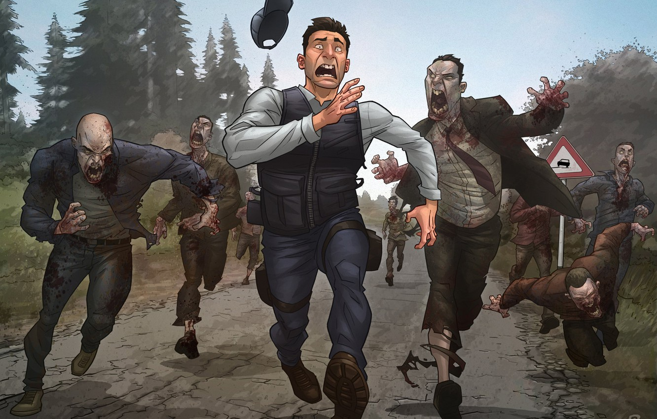 Photo wallpaper road, forest, sign, zombies, patrick brown, DayZ