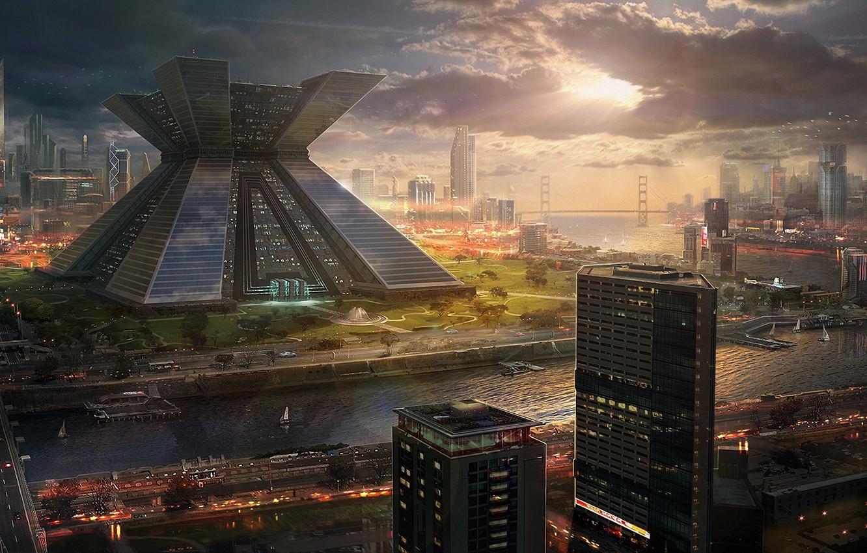 Photo wallpaper sunset, bridge, the city, future, river, building, skyscrapers, art, megapolis
