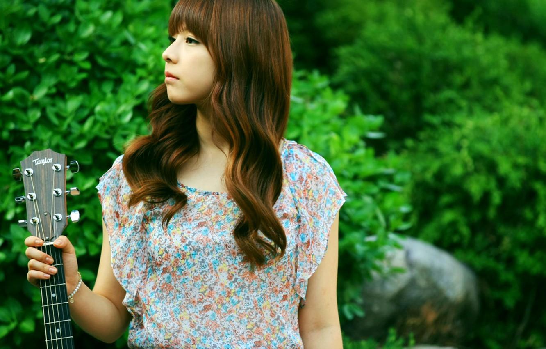 Photo wallpaper Girl, Nature, Asian, Guitar, Beauty, Kpop, Singer, Korean, Juniel