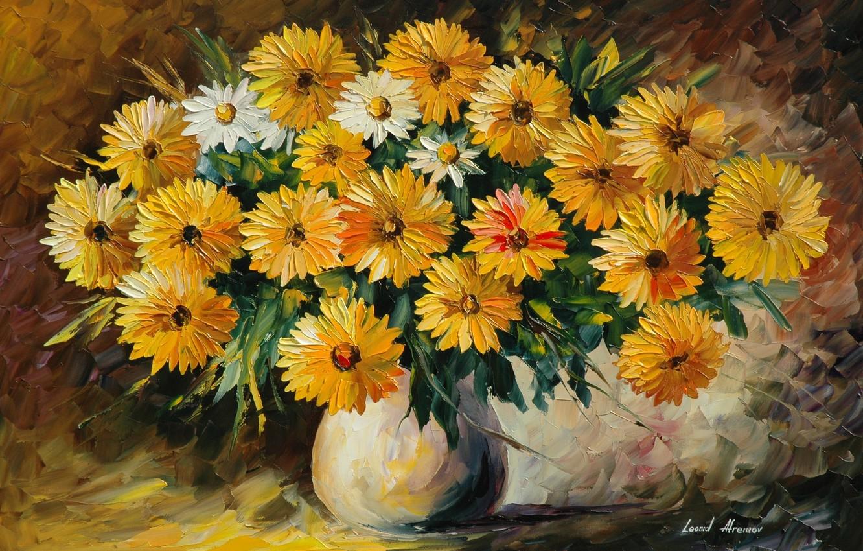 Photo wallpaper flowers, bouquet, vase, painting, Leonid Afremov