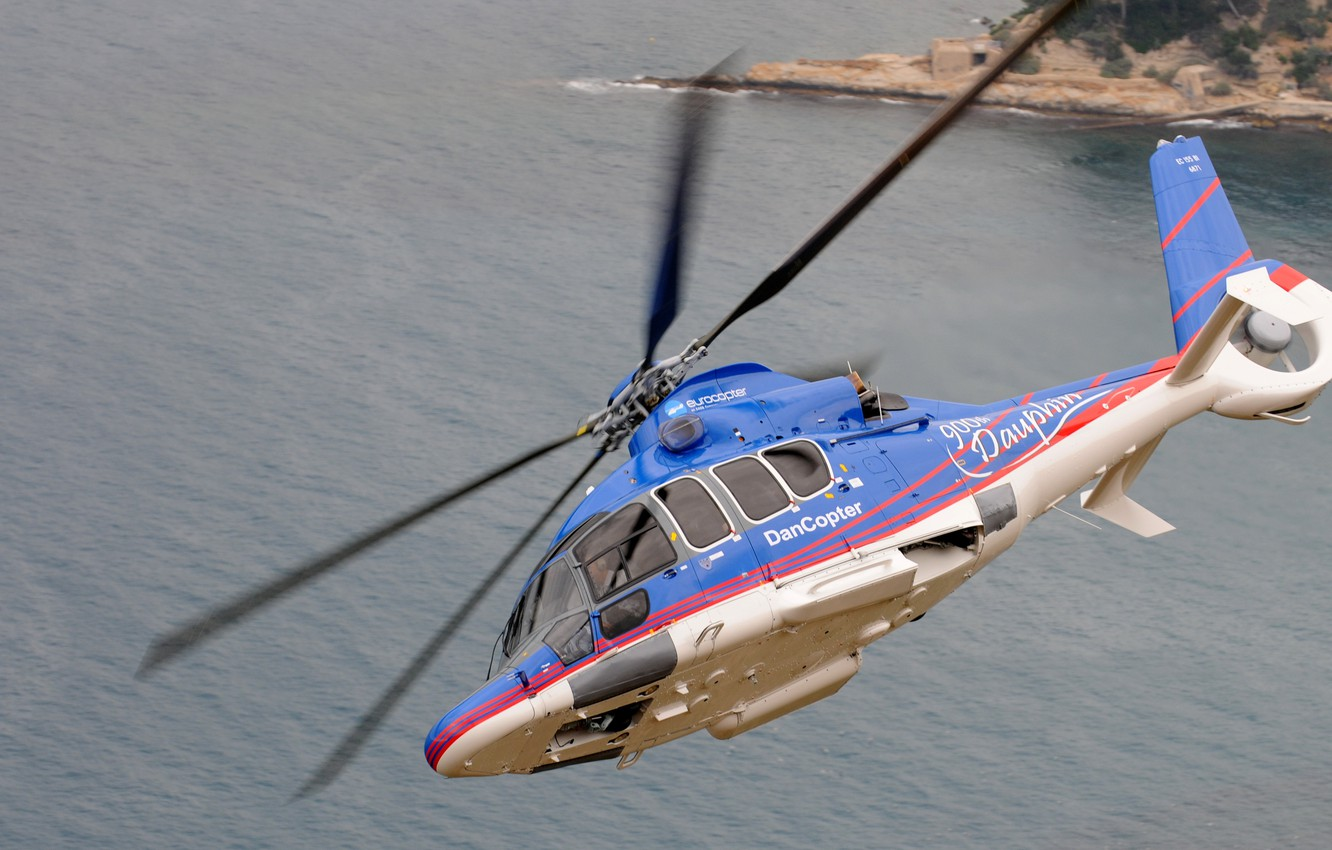 Photo wallpaper sea, flight, turn, helicopter, Eurocopter