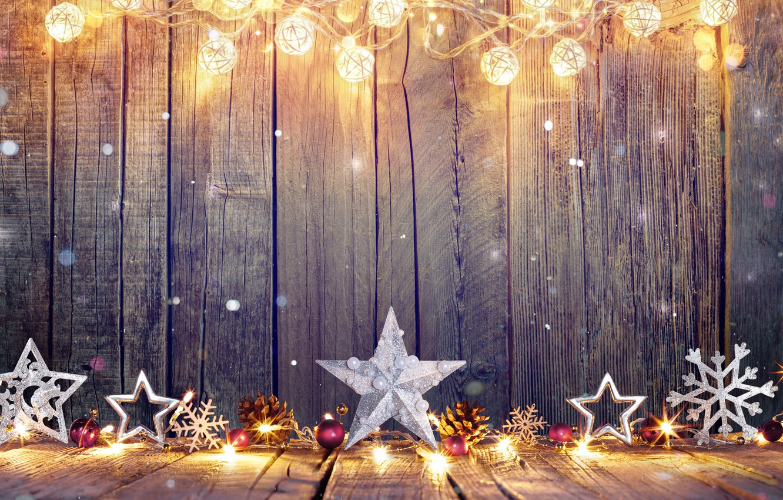 Photo wallpaper balls, snowflakes, stars, Christmas, New year, garland, bumps, Christmas decorations