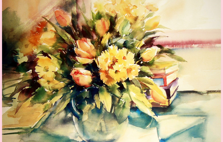 Photo wallpaper flowers, paint, figure, books, watercolor, still life, painting