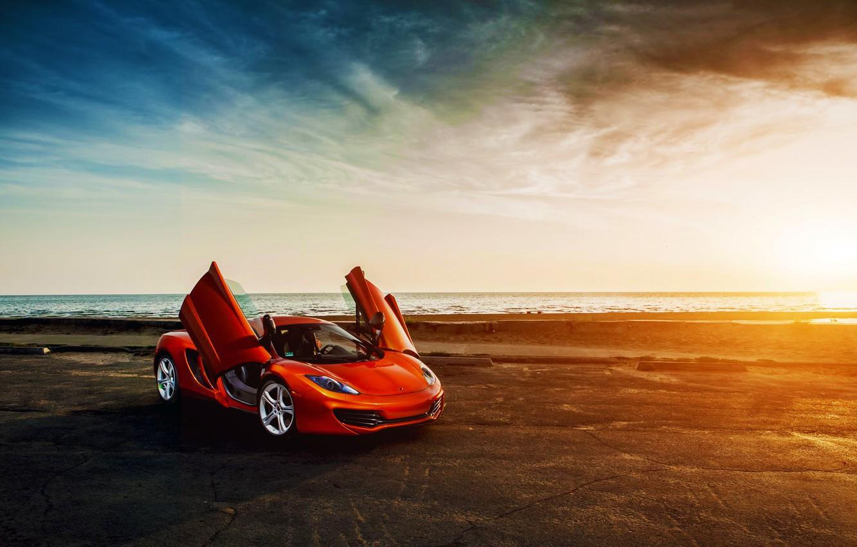 Photo wallpaper McLaren, Orange, Sky, Front, Sunset, MP4-12C, Beauty, Sea, Supercar, Doors, Clound