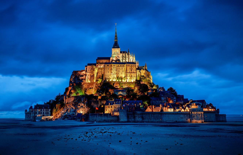 Photo wallpaper castle, France, mountain, fortress, France, Normandy, Normandy, Mont-Saint-Michel, Mont Saint-Michel