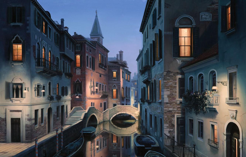 Photo wallpaper the city, Italy, Venice, channel, painting, Italy, gondola, painting, Venice, Eugene lushpin, eugeny lushpin, lushpin, …