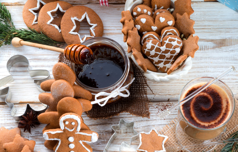 Photo wallpaper winter, food, chocolate, men, cookies, drink, stars, figures, dessert, cakes, holidays, jam, jam, Christmas