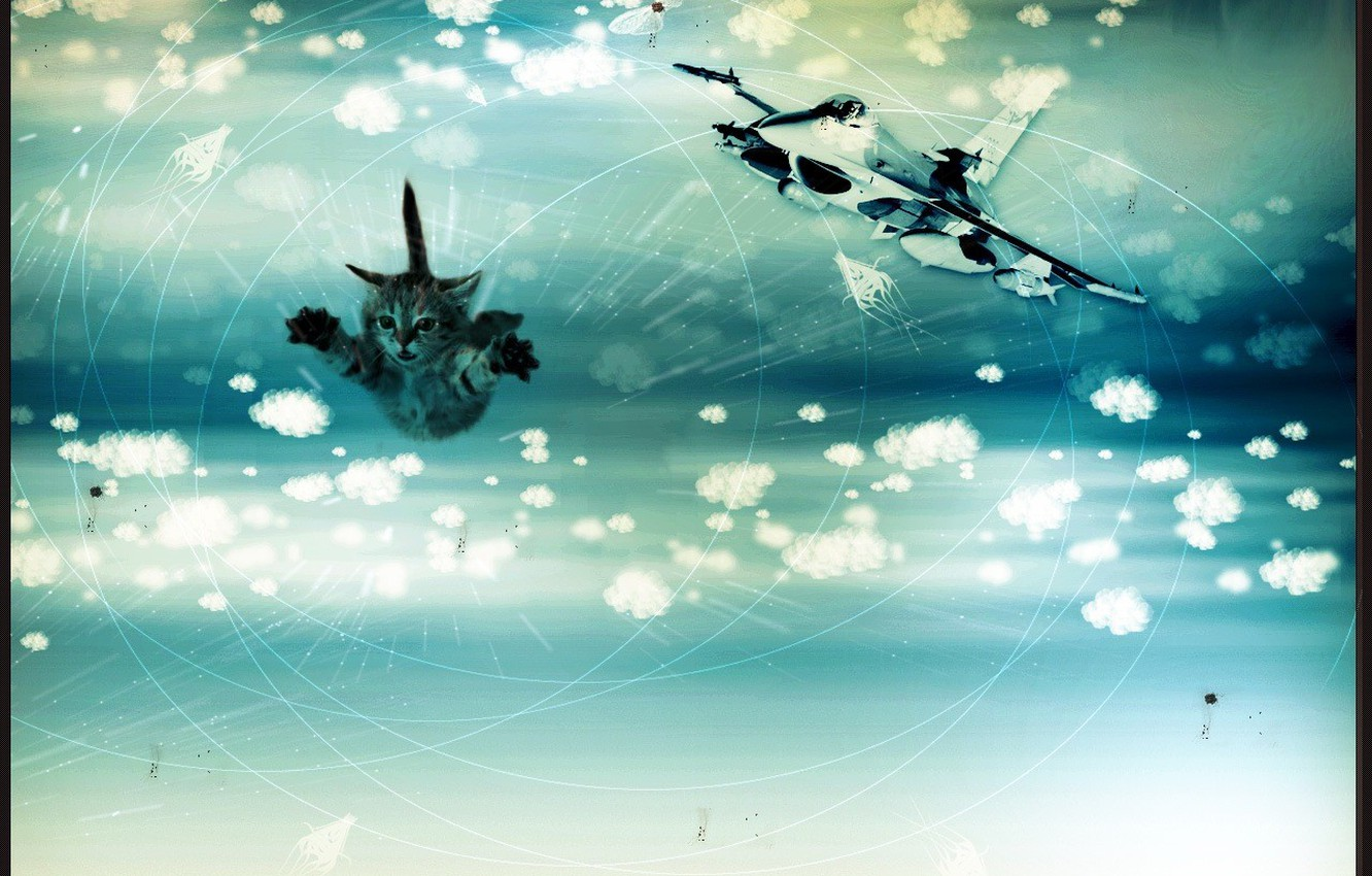 Photo wallpaper clouds, line, flight, butterfly, dreams, cats, circles, joy, strange things, happiness, aviation