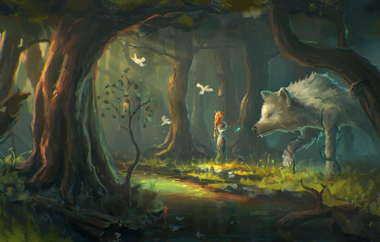 Photo wallpaper forest, girl, trees, birds, fantasy, wolf, art