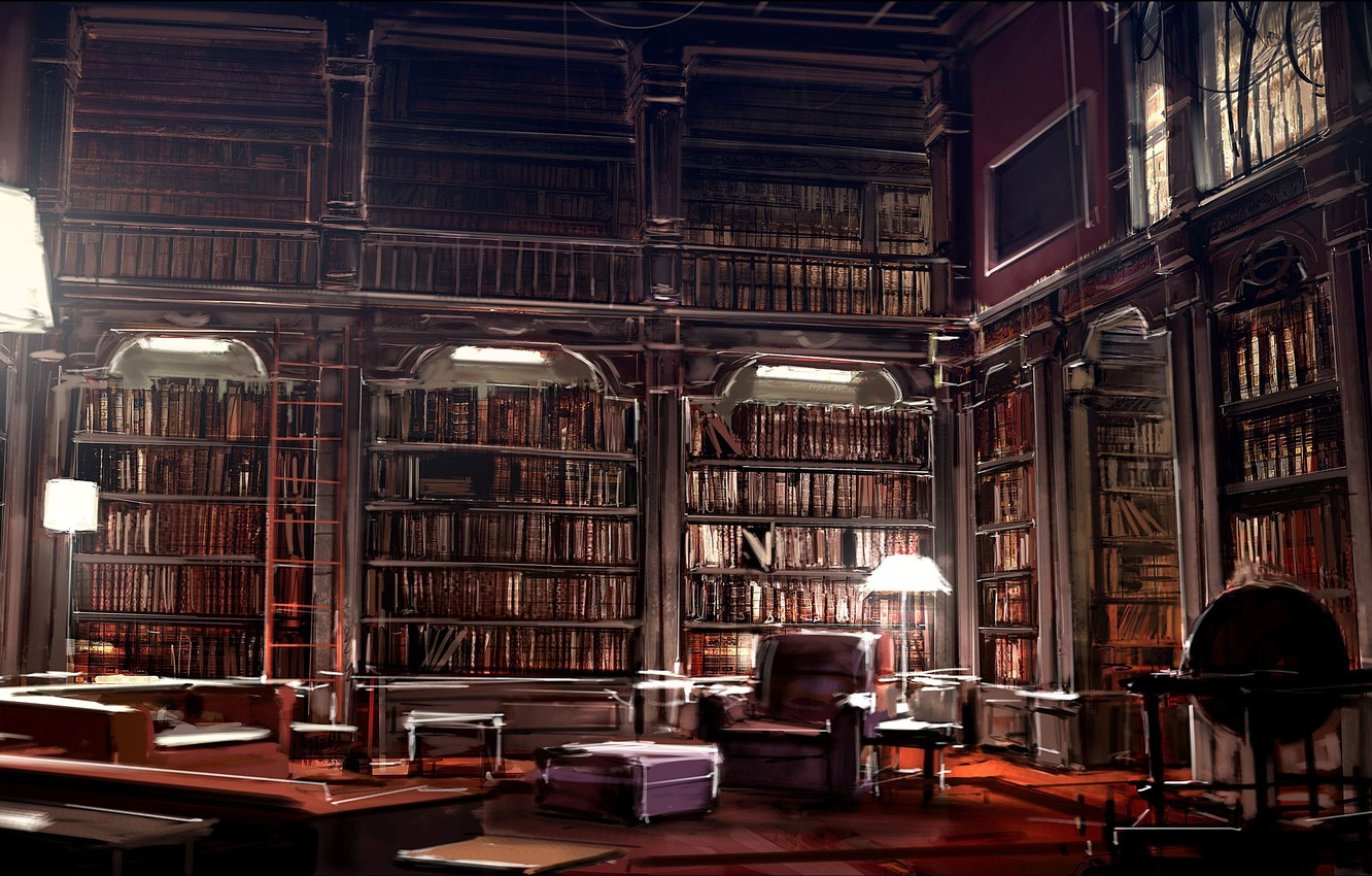 Photo wallpaper interior, library, kafka library, by gryphart