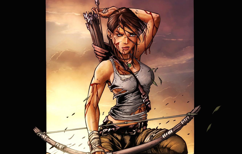 Photo wallpaper girl, sunset, weapons, bow, Lara Croft, arrows, quiver, game wallpapers, Lara Croft, Tomb Raider, Tomb …