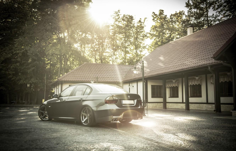 Photo wallpaper BMW, BMW, Lights, E90, Back, Deep Cpncave