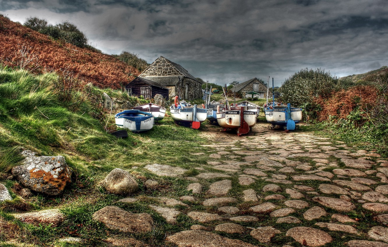 Photo wallpaper landscape, stones, boats, stone houses