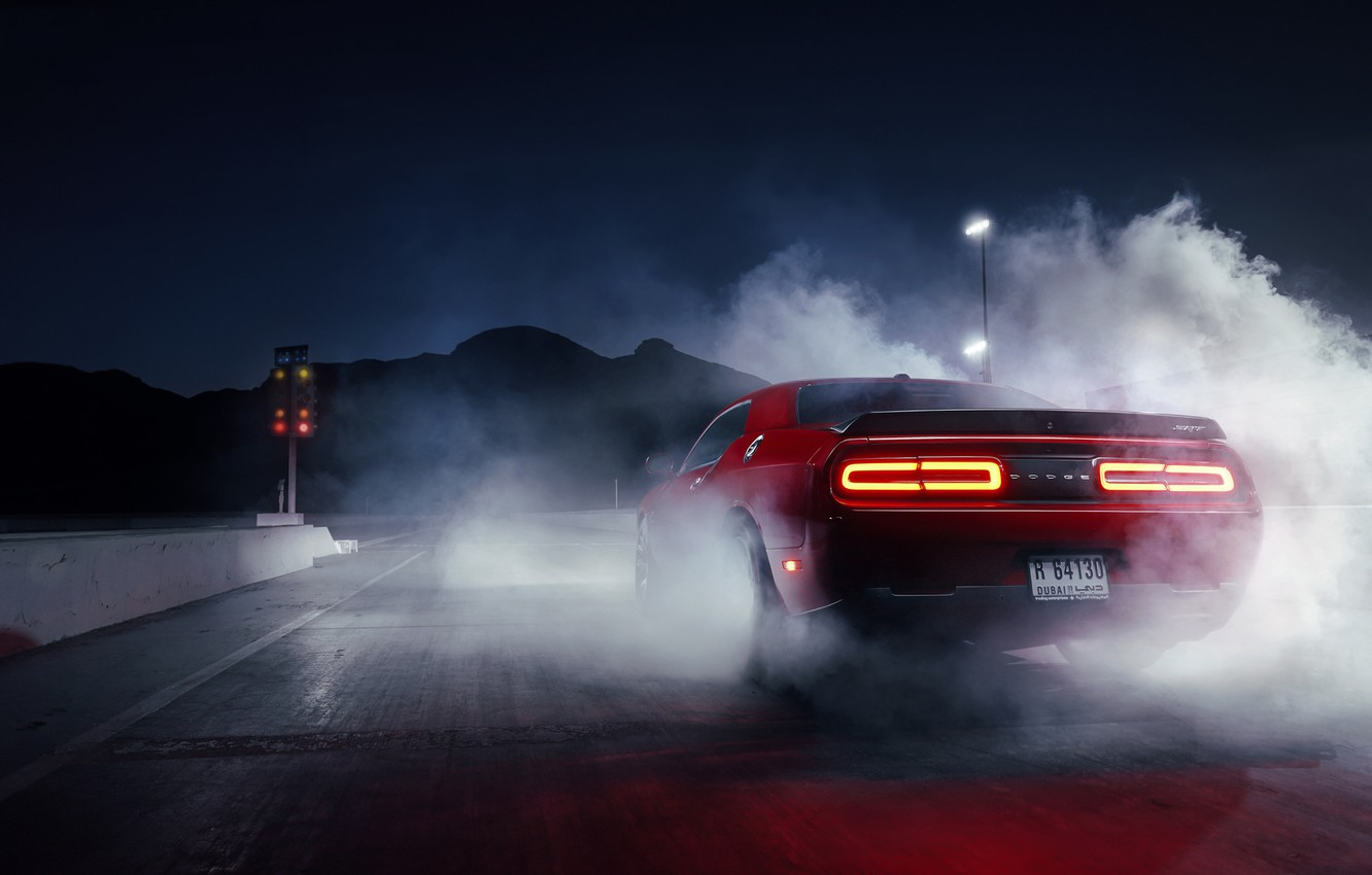 Photo wallpaper Muscle, Dodge, Challenger, Red, Car, Smoke, Hellcat, Drag, Rear