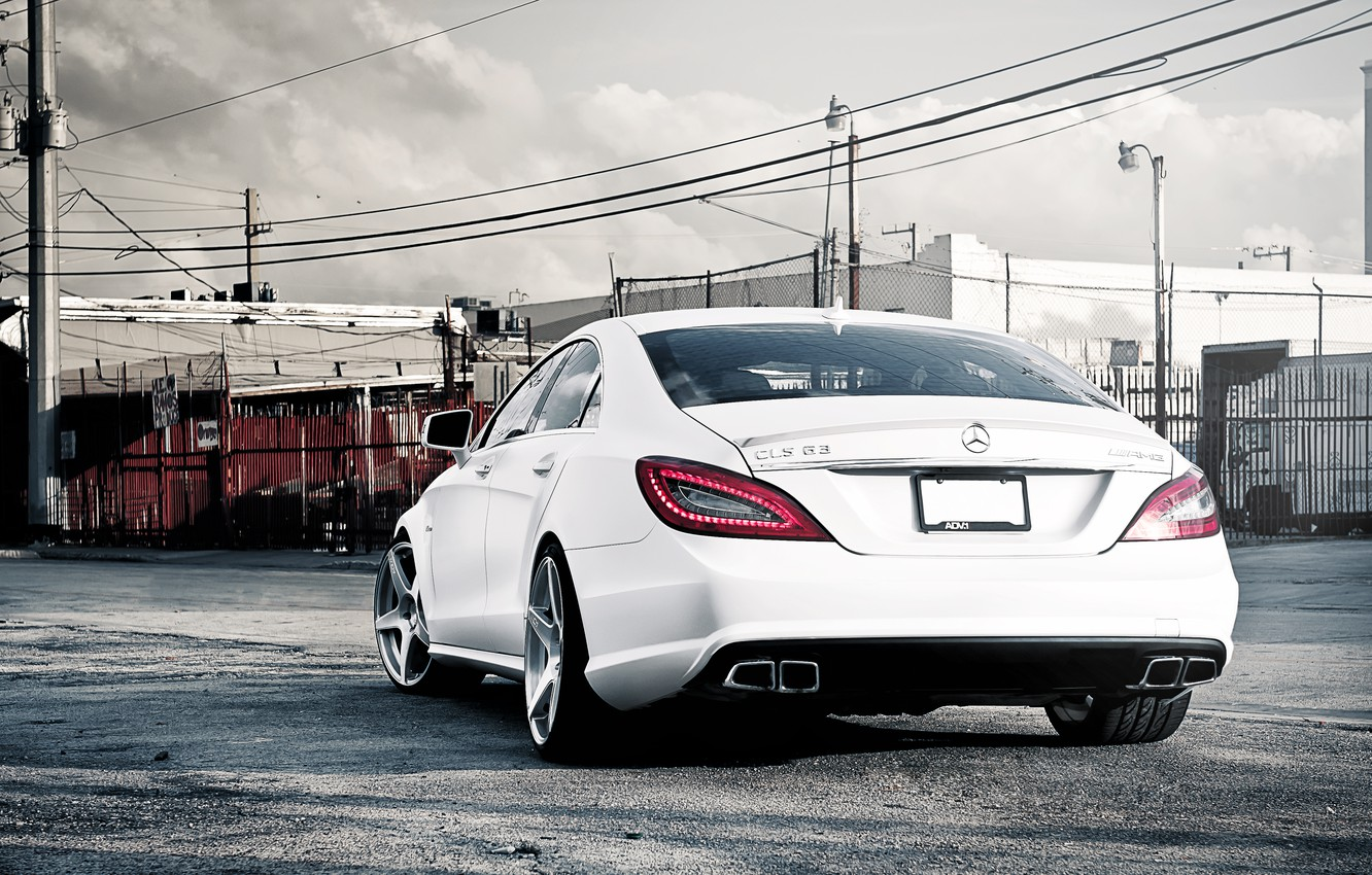 Photo wallpaper white, Mercedes-Benz, white, AMG, the rear part, Mercedes Benz, CLS-class, C218, CLS 63