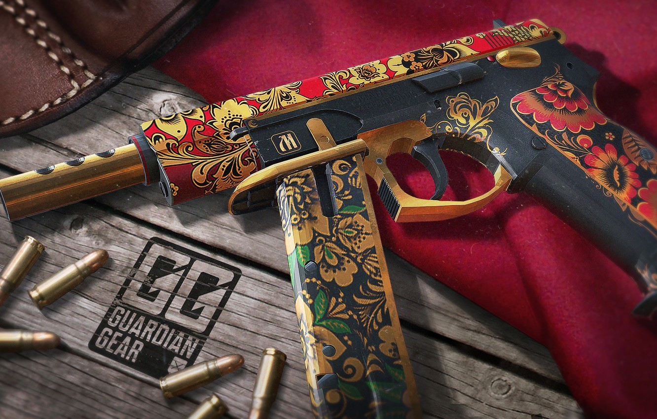 Wallpaper rendering, table, cartridges, holster, red cloth