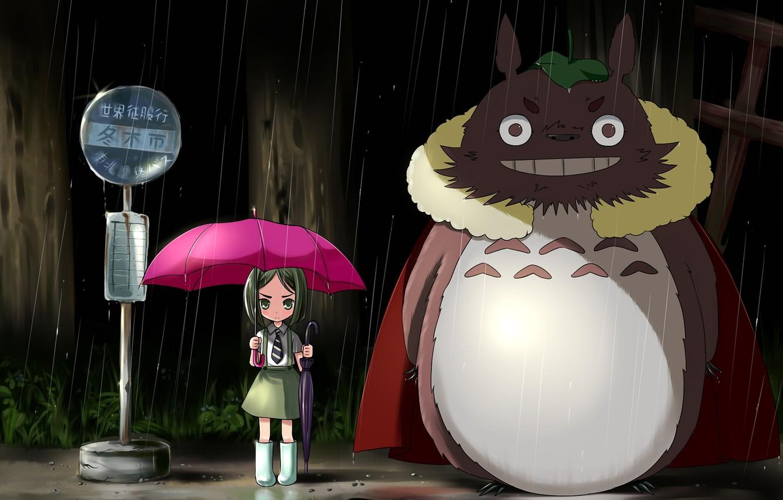 Photo wallpaper night, umbrella, rain, pink, umbrella, girl, my neighbor Totoro, my neighbor totoro, stop, tonari no …